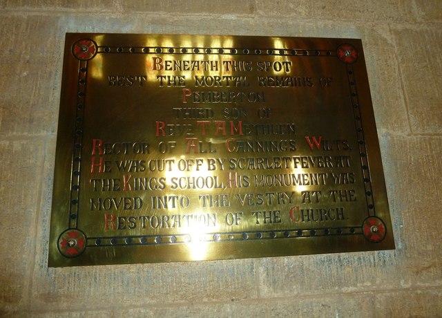 Sherborne Abbey: memorial (l)