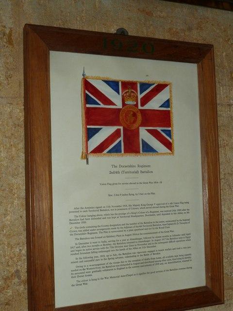 Sherborne Abbey: Dorset Regiment Commemoration (a)