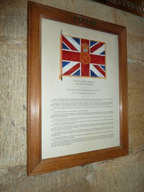 Sherborne Abbey: Dorset Regiment Commemoration (c)