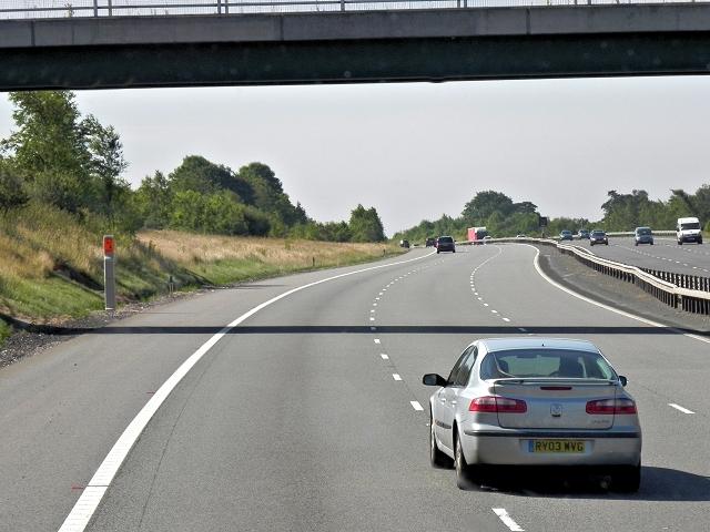 M6 Toll Road Passing Under Weeford Park Farm Bridge
