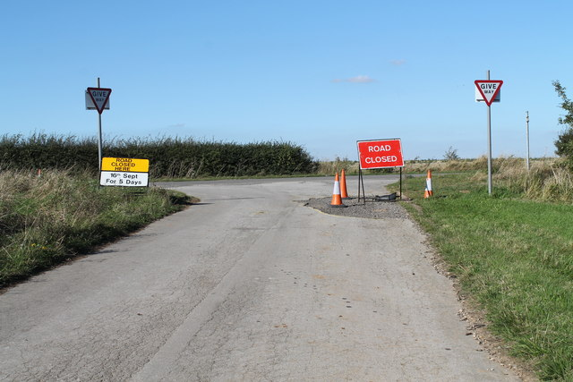 Road junction with Road Closed signs