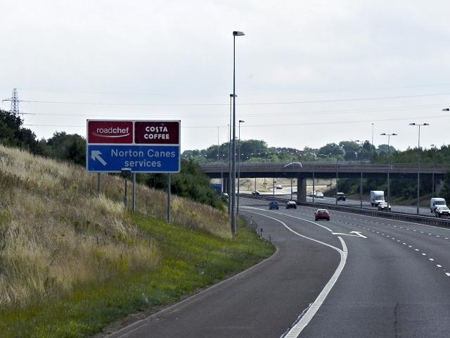 M6 Toll Road, Exit to Norton Canes Service Area