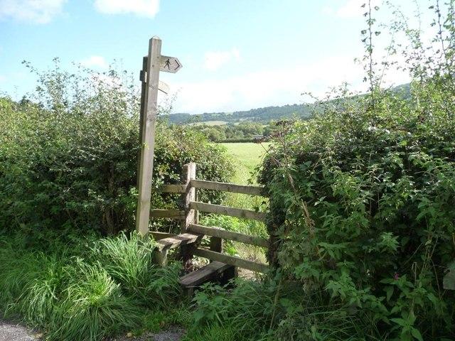 Entrance to two public footpaths, Newbridge on Usk