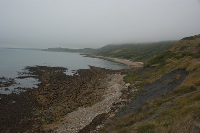 The coast towards Black Head in smuggler's weather