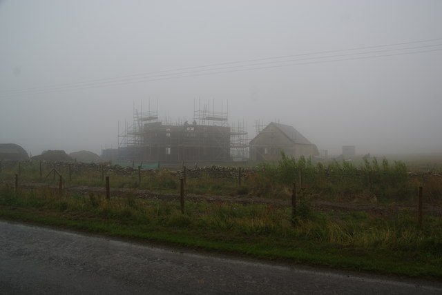 New building in the mist near Quoydandy