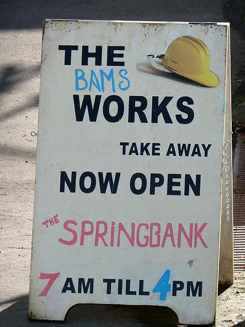 A sandwich board sign outside the Springbank Tea Room, Stow