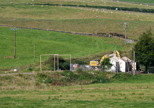 A house demolition at Stagebank
