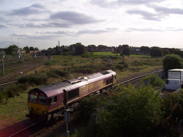 Light engine approaching Doncaster Station