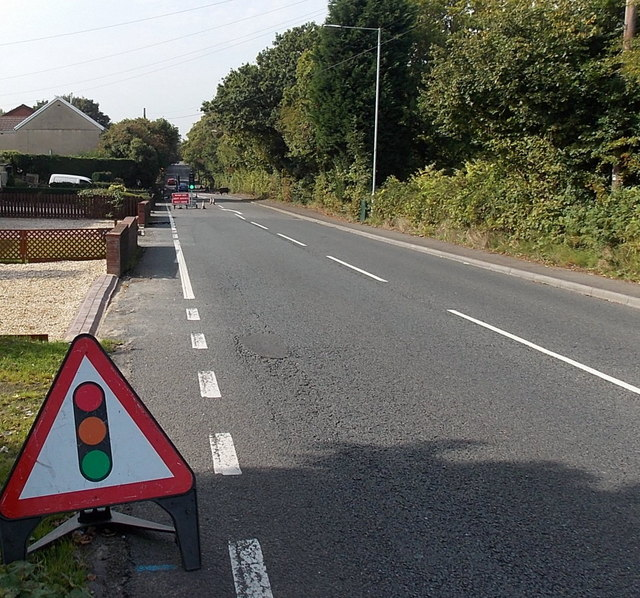 Temporary traffic lights ahead on Cwmbach Road Swansea