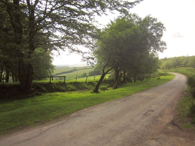 Moorland road at Badlake Moor Cross
