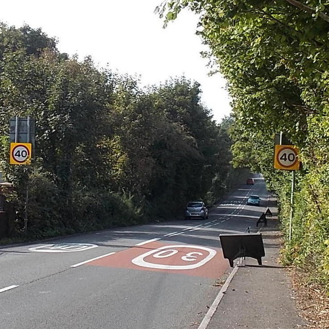 End of the 30mph speed limit along Cwmbach Road, Swansea