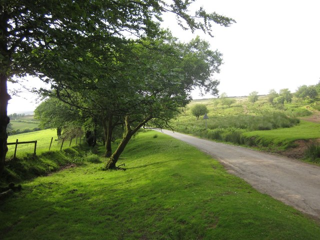 Moorland road at Badlake Moor Cross