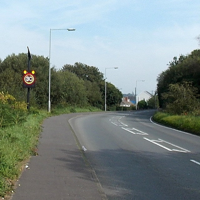 Speed-activated sign illuminated by a pedestrian east of Waunarlwydd