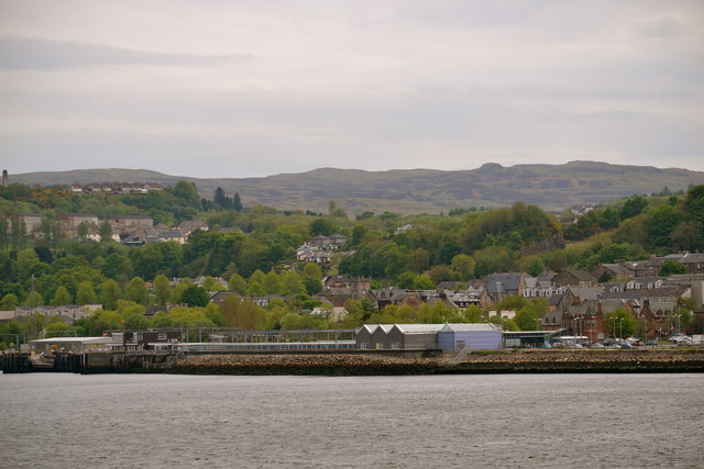 Gourock Railway Station and Pierhead viewed from P&O's Adonia sailing out of Greenock