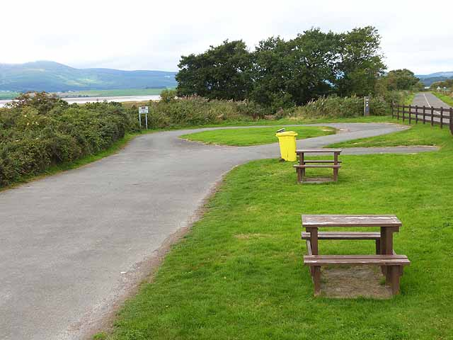 Car park and picnic tables at the Caerlaverock National Nature Reserve