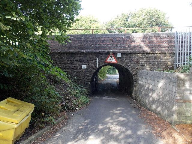"6' 3"" headroom under Roseland Road railway bridge, Waunarlwydd"