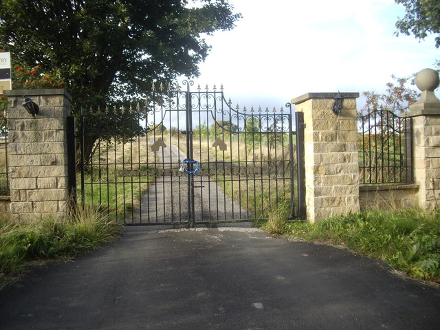 Locked wrought-iron gates off Sandy Lonnen