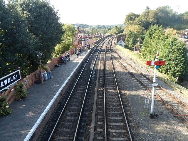 View WNW from Bewdley railway station footbridge