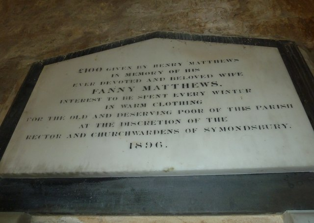 St John the Baptist, Symondsbury: memorial (b)