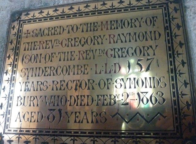 St John the Baptist, Symondsbury: memorial (d)