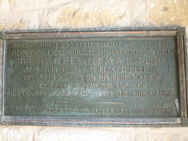 St John the Baptist, Symondsbury: restoration commemoration