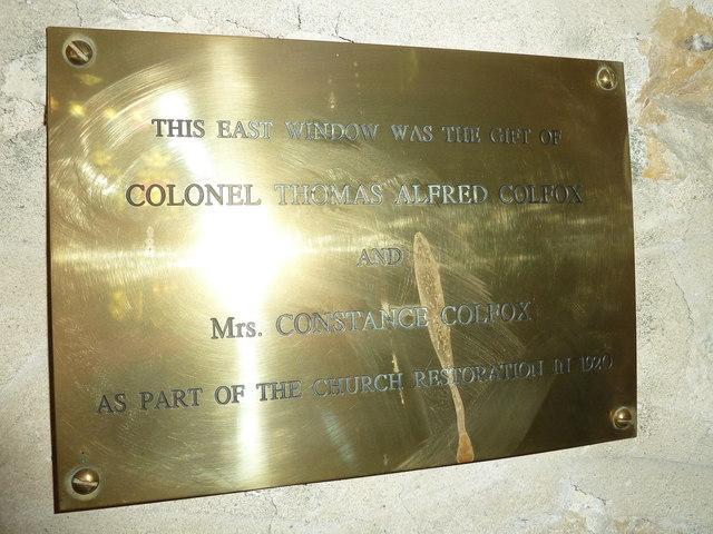 St John the Baptist, Symondsbury: memorial (i)