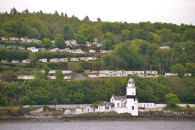 Cloch Lighthouse and Cloch Point Caravan Park, near Gourock, viewed from P&O's Adonia sailing away from Greenock