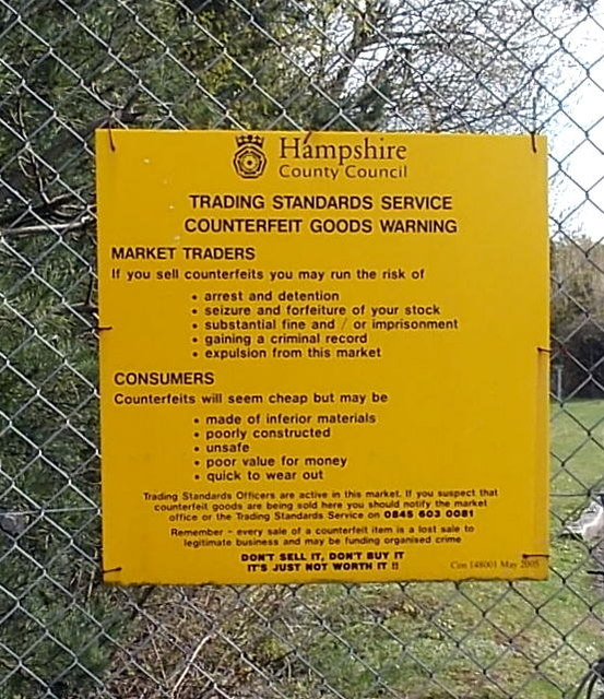 Hampshire County Council counterfeit goods warning notice, Blackbushe