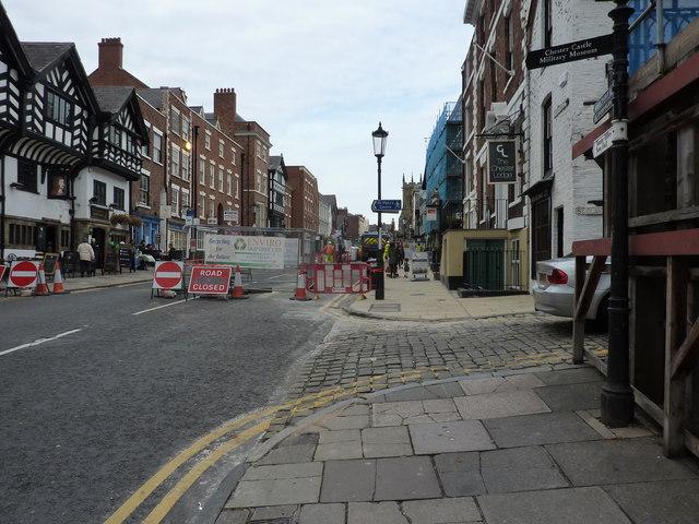 Lower Bridge Street, Chester, road works
