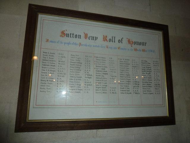 St John the Evangelist, Sutton Veny: Roll of Honour