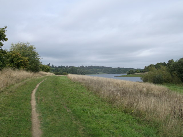Round reservoir Route to Long Wood near Little Whiligh Farm