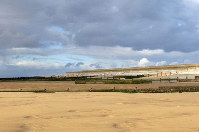 Looking up Rossall Beach to the groynes and sea wall