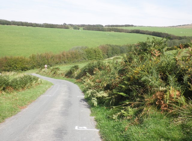Road descends to Goat Combe
