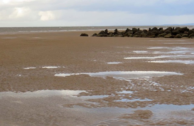 Stone groyne on Rossall Beach