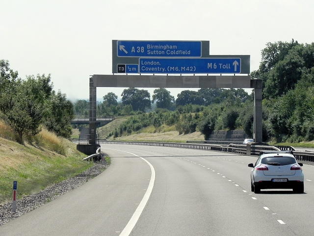 M6 Toll Road, Overhead Sign Gantry near Junction T3