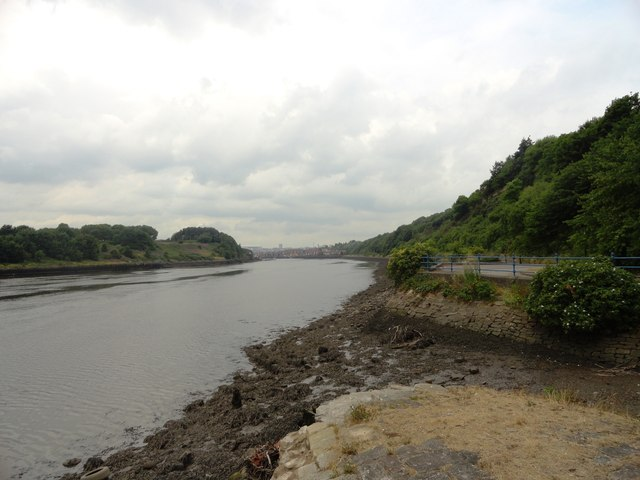 View upriver from the riverside path