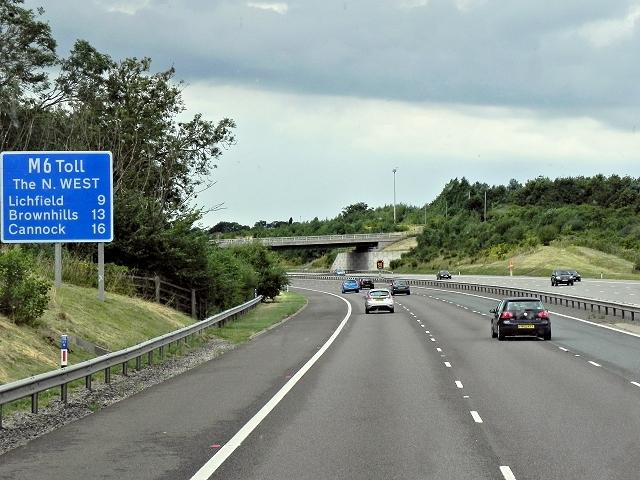 M6 Toll Road near Langley Mill Farm