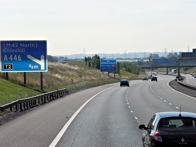 Southbound M6 Toll Road, Between Junctions T3 and T2
