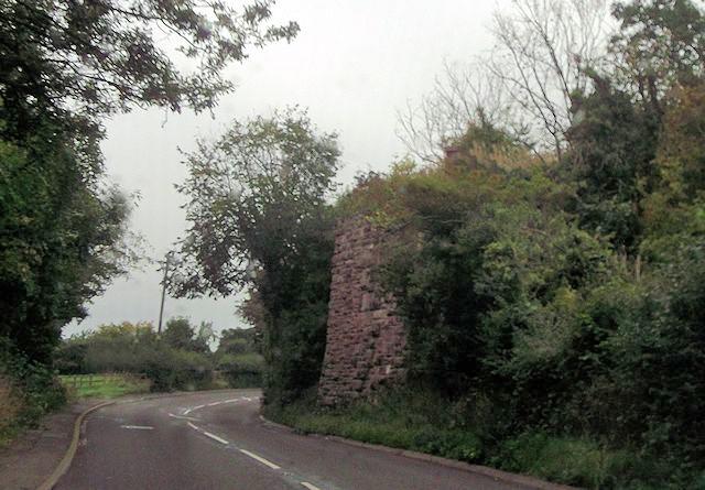 Abutment of old railway bridge across A488