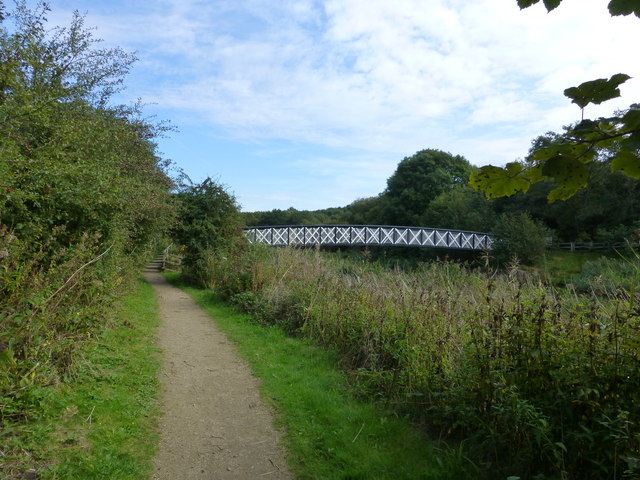 Footbridge over Witton Brook linking Anderton Nature Park and Carey Park