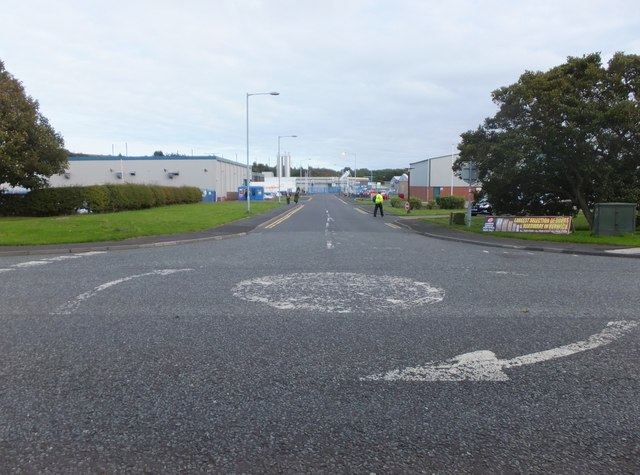 Mini-roundabout at an entrance to Tweedside Trading Estate