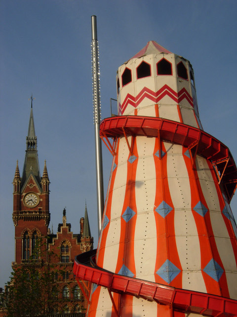 Helter skelter and St Pancras clock tower