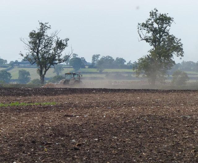 Tractor in a field near Foston