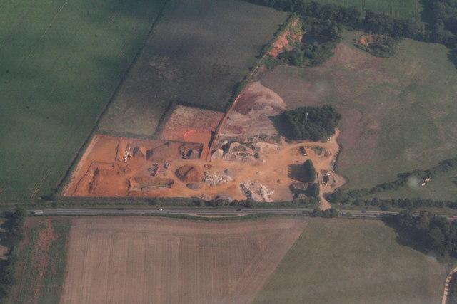 Carrstone quarry north of Snettisham: aerial 2013