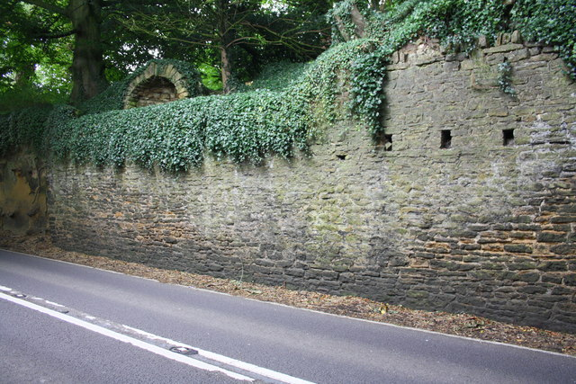 A30 and north side wall at east end of West Coker