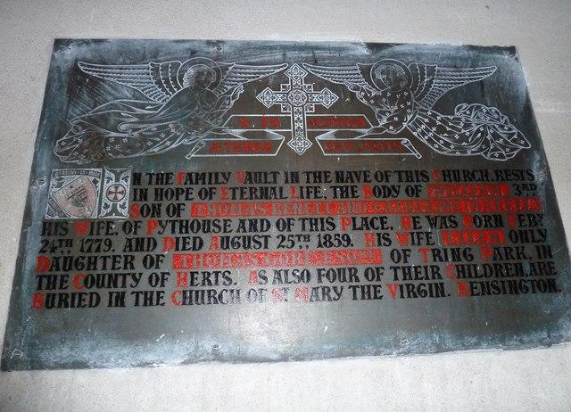All Saints, Norton Bavant: memorial (2)
