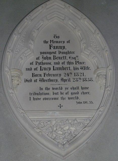 All Saints, Norton Bavant: memorial (4)