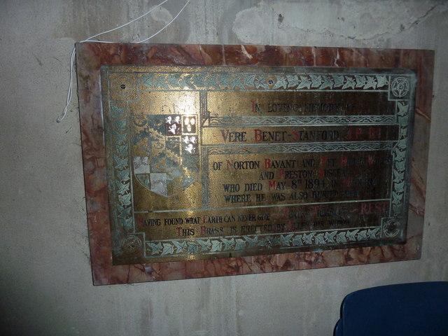 All Saints, Norton Bavant: memorial (10)
