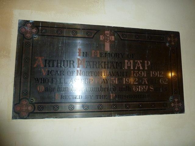 All Saints, Norton Bavant: memorial (21)
