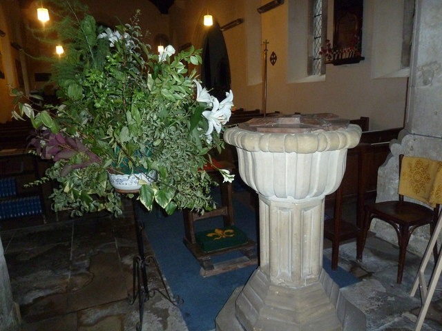 All Saints, Norton Bavant: font